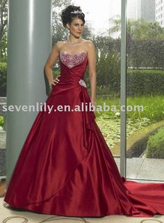 Simple sweetheart Red Gown