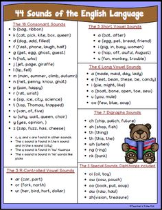 Freebie! 44 Sounds of the English Language on one nice little sheet. It's easy to read and store. This sheet has a few examples for each sound. Not all examples are used. A black and white version is