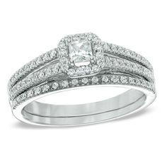 1/2 CT. T.W. Princess-Cut Diamond Frame Bridal Set in 14K White Gold