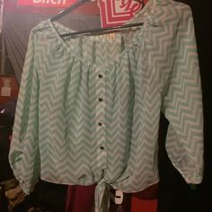 Light blue blouse Blue and white striped top with gold buttons on front. The brand is l8ter Tops