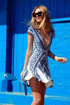 azul y blanco que bellos se ve!    blue and white fashion