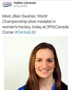 TODAY at 3pm from @cscatlantic  Come meet #RBCOlympian @jill.saulnier today at 3pm @hfxpublib #halifaxcentral in #CanadaCorner  2nd floor Creative Lab.  Hear her story and stick around for an autograph! . . . #cscatlantic #RBC #Halifax #buildingchampions #hockey #halifaxnoise #halifaxnoisekids #halifaxcentrallibrary