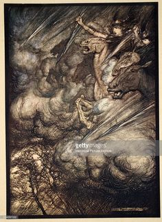 The Valkyries flee from Wotan's wrath at Brunnhilde's misdemeanour. Illustration by Arthur Rackham from 'The Rhinegold and The Valkyrie,' part of 'The Ring of the Nibelung' by Richard Wagner. Color lithograph, 1910.