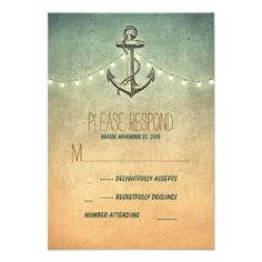 Rustic vintage anchor and string lights nautical wedding reply cards #nautical #rsvp #nautical #wedding #reply #nautical #wedding #response #anchor #rsvp #seaside #wedding #rsvp #beach #wedding #rsvp #destination #wedding #rsvp #vintage #ombre #lights #string #twinkle