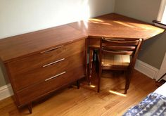 Kent Coffey Corner Desk Unit with 3-Drawer Chest and Chair - Mid Century Modern