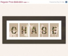 15% OFF Camo Baby Name Sign with Forest Animal Silhouettes - Custom Framed Numbers or Letters for Boys Nursery or Bedroom - Monogram, Initi on Etsy, $42.50