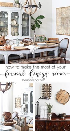 I love this dining room! These are wonderful tips for finding ways to use your formal dining space, and the soothing neutrals, rich textures, combination of antiques and diy pieces, and family friendly set up is wonderful! maisondepax.com