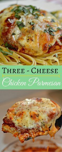 This three cheese Chicken Parmesan recipe is so delicious! It combines three different types of cheese with perfectly tender chicken and pasta sauce and is full of flavor.