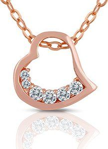 New bouncy box!  Rose Gold Plated Open Heart Necklace with Simulated Crystals - Jewelry for Teens, Little Girls or Kids