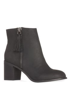 Black Wide Fit Heeled Ankle Boots