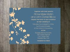 Printable Wedding Invitation  Flowers Blue and by PocketSizePress, $30.00