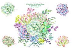 Watercolor clipart (1) - Hand painted watercolor succulent plants printable instant download wedding bouquet, wedding invitations