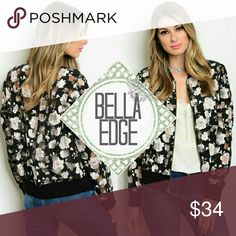 Black pink floral bomber jacket 💎100% POLYESTER 💎This fun bomber jacket features a pretty and pink floral print over black with clear vinyl square panels throughout. Silver hardware 💎Sizes small and large Bella Edge Boutique Jackets & Coats