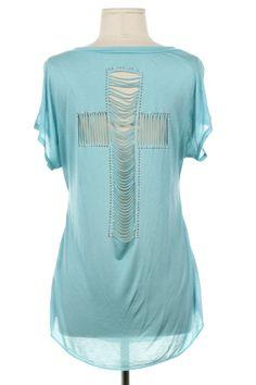 Cut-Out Cross Back T-Shirt - Mint S,M,L $34.00