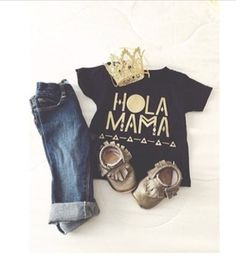 Gender neutral outfit. Grey Moccs: My Beautiful Little Shop | Hola Mama Tee: Stellar Seven | Gold Princess Crown: Love Crush Bowtique | Jeans: Old Navy