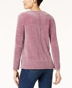 Style & Co Crew-Neck Chenille Sweater, Created for Macy's - Purple XXL