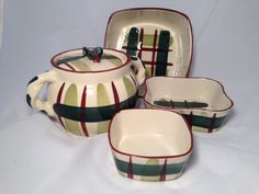 Blair hand painted pottery set, jar with lid and 3 casserole dishes, very 50s looking