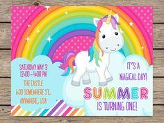 Arc-en-ciel Licorne Invitation, Invitation anniversaire de Licorne, premier anniversaire, parti de Rainbow de Licorne, licorne fête d