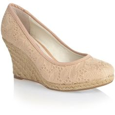 Beige broderie lace covered wedge shoes found on Polyvore