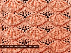 Lace knitting stitch of the Month - August # Alsacian Scallops. Skill Level: Intermediate Lace knitting stitch of the Month - August # Alsacian Scallops. Lace Knitting Stitches, Lace Knitting Patterns, Arm Knitting, Knitting Charts, Lace Patterns, Knitting Designs, Stitch Patterns, Knitting Machine, Knit Crochet