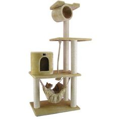 """A jungle-gym of excitement for your beloved pet! Featuring four levels of height raising fun, this cat tree comes at a veritable bargain. Made of faux fur and pressed wood, this tree allows your kitty to explore its hanging tunnel, hammock, and """"cat house"""" for hours of enjoyment and relaxation. Easy to assemble and so much fun, your cats will purr with happiness! Max weight: 40lbs, Dimensions: 62x36x20 inches."""