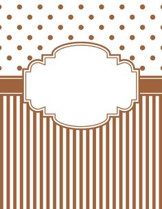 Free printable brown polka dot and stripe binder cover template. Download the cover in JPG or PDF format at http://bindercovers.net/download/brown-polka-dot-and-stripe-binder-cover/