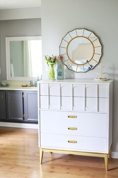 Dresser Colors: Behr Marquee Cameo White, Krylon Short Cuts Gold Leaf