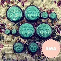 Buddha plugs Body Jewellery, Ear Jewelry, Cute Jewelry, Jewlery, Plugs Earrings, Gauges Plugs, Ear Tapers, Expansion, Stretched Lobes