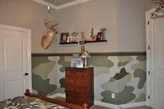 Image detail for -Painting and Design by Celeste: The camo room - lower half of wall in camo Bedroom Themes, Bedroom Wall, Bed Room, Bedroom Ideas, Boys Hunting Room, Hunting Bedroom, Camo Curtains, Camo Rooms, Teen Room Designs