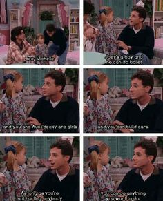 This is why I love Full House. It has a moral at the end of every episode. Danny Tanner understands the autocratic way of gender roles. But he is trying to teach his daughter that gender ideology should not be portrayed as how society worked in the Full House Quotes, Full House Memes, House Funny, Gender Roles, Gender Inequality, Parenting Done Right, Parenting Advice, Fuller House, Thoughts
