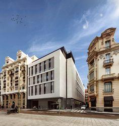 Fachada del Hotel Exe Central de Laboratorio de Arquitectura.