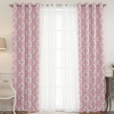Best Home Fashion Moroccan Room Darkening Mix & Match Curtain Panels - Set of 4 Pink - MM_GR_TULLE_MORO-84-PINK
