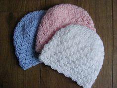 Pattern to crochet newborn hat in double knitting yarn and crochet hook. Baby Hat Patterns, Sewing Patterns, Crochet Patterns, Newborn Crochet, Crochet Baby, Baby Poncho, Unique Baby Gifts, Double Knitting, Knitting Yarn