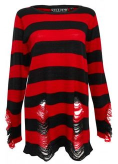 Black/red stripes Loose fit knitted jumper Ripped holes on sleeves and hem 100% Acrylic The Krueger Distressed Knit Sweater by Kill Star is an awesome high quality jumper inspired by everyone's favourite nightmare - Freddy Krueger! Looks like he got his claws stuck, because this badass piece of knitwear has distressed rips!