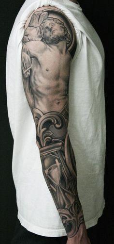 jesus arm sleeve tattoos Exotic Tattoos for the Arm Jesus Tattoo Sleeve, Arm Sleeve Tattoos, Tattoo Sleeve Designs, Tattoo Designs Men, Forearm Sleeve, Tattoo Sleeves, Tattoo Forearm, Arm Sleeves, Full Sleeves