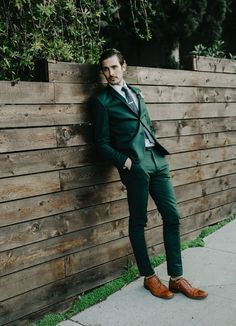 break the mold with a slim fit green suit & brown Oxford shoes