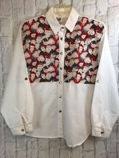 fe715ff5 Tap Co Vintage Santa Claus Vest Bib Long Sleeve White Blouse Size Medium |  Clothing,