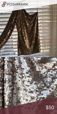 bb33431b2e4f64 BCBG sequin top One shoulder - long sleeve - sequin - worn once BCBGMaxAzria  Tops Blouses