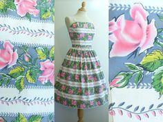 Beautiful Vintage 1950s Floral Stripe by RainbowValleyVintage, £125.00