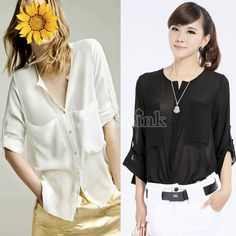 Fashion Simple Basic Sheer Chiffon T-Shirt Blouse With Pockets
