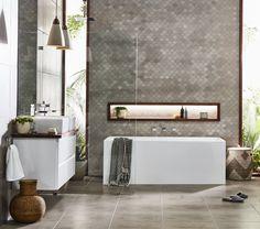 Create a sleek, modern bathroom with the distinct, geometric style of the Mondella Rococo collection. Available at Bunnings Warehouse. Bathroom Renos, Bathroom Interior, Modern Bathroom, Bathroom Inspo, Bathroom Ideas, Decor Interior Design, Interior Decorating, Vanity Design, Bathrooms Decor