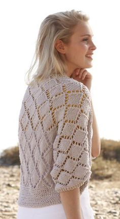 Free knitting pattern for Cassie Shrug Bolero with diamond lace. Worked flat in one piece.