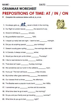 Quality ESL grammar worksheets, quizzes and games - from A to Z - for teachers & learners TIME with  AT / IN / ON