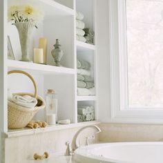 Bathroom Shelves Design--built in but maybe to floor