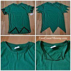 """DIY Peter Pan Costume... how to make a """"no sew"""" Peter Pan tunic."""