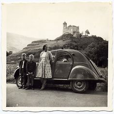 2CV, black and white photograph, castle