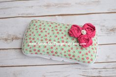 READY TO SHIP Hot Pink Small Floral on Mint by LauraLeeDesigns108