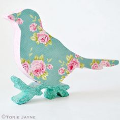 Glittered floral print Christmas bird tutorial by Torie Jayne