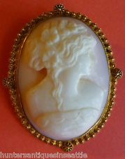 Victorian 14k Yellow Gold carved Angel Coral Cameo brooch / pendant