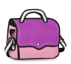 2016 New Fashion 2D Bags Novelty Back To School Bag 3D Drawing Cartoon Comic Handbag Lady Shoulder Bag Messenger 6 Color Gifts